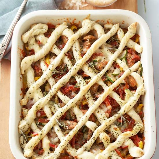 Customize this Criss-Cross Pizza Casserole with your favorite meat and veggies! More delicious casserole recipes: www.bhg.com/...