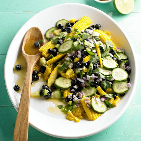 Corn & Blueberry Salad - looks delicious but I'd sub black beans for the blueberries