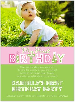 first birthday party invitation.