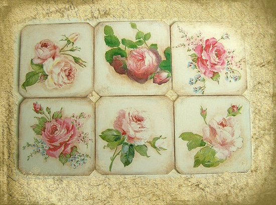 set of rose coasters