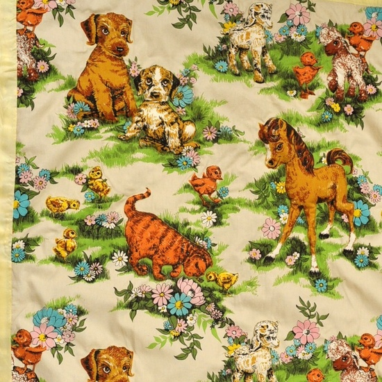 Vintage Baby Animal Print Baby Blanket. $65.00, via Etsy.