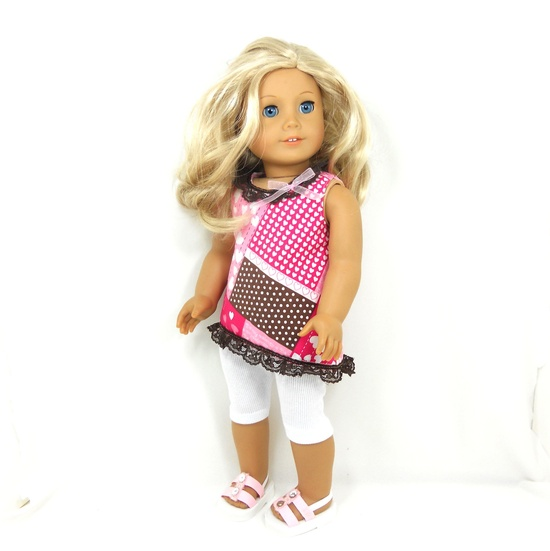 """American Girl 18"""" Doll Clothes 2 pc valentine hearts with pink, white, brown colors. via Etsy."""