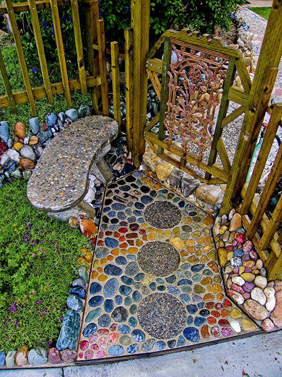 Garden mosaic path