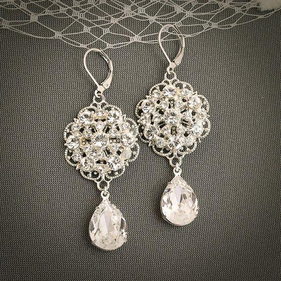 ADELICIA, Swarovski Crystal and Rhinestone Chandelier Wedding Bridal Earrings, Silver Filigree Bridal Wedding Earrings, Vintage Inspired at $65 on etsy.com