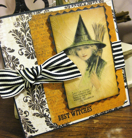 Wonderfully pretty handmade Halloween card featuring a Victorian illustration of a witch. witch Halloween card making...