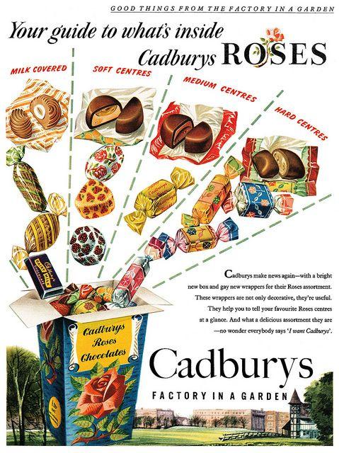 A taste bud tempting guide to what's inside Cadbury Rose candies. #vintage #ad #food #1950s #candies