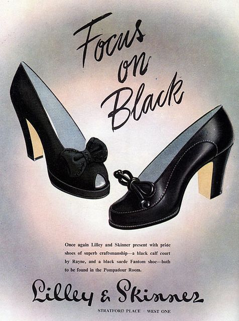 One can never go wrong with a classic bow adorned pair of black pumps. #vintage #1940s #fashion #ad #shoes #heels