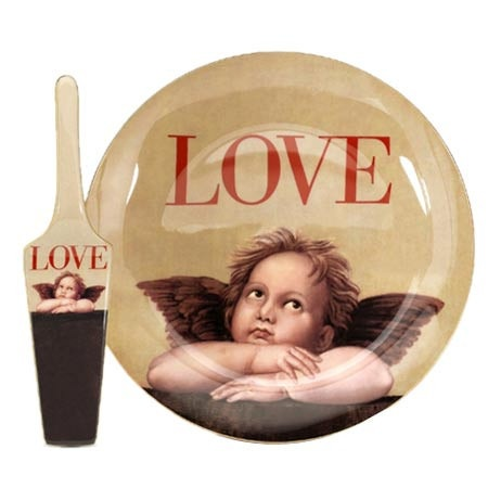 Cupid Cake Plate with Server