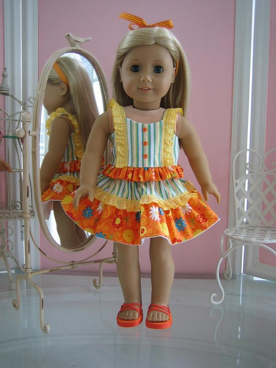 18 inch American Girl Doll Clothes / Two piece sun dress /Cami top, skirt and sandals. via Etsy.