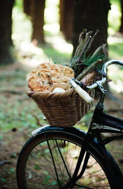 photo styling: bicycle basket