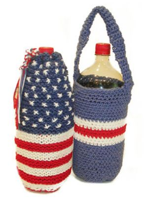 Patriotic knit bottle holder pattern - could easily be modified for crochet. Could also be extended as a wine bottle gift bag for a 4th of July hostess gift.