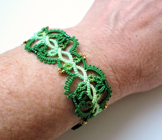 Green tatted bracelet by yarnplayer on Etsy, $35.00