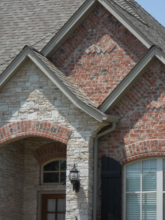 possible brick and stone for exterior of home. Brick is a little too pink