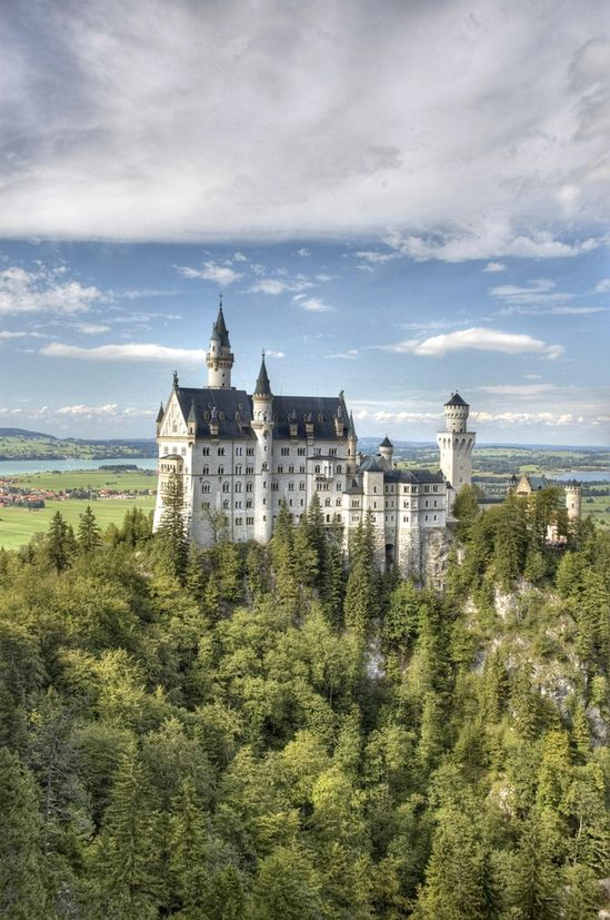 Neuschwanstein Castle Germany, magnificent structure and countryside