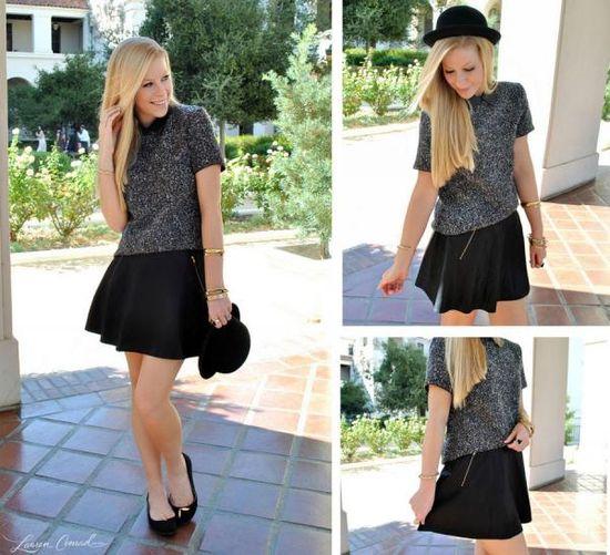 Tweed Top + Flared Mini-Skirt.