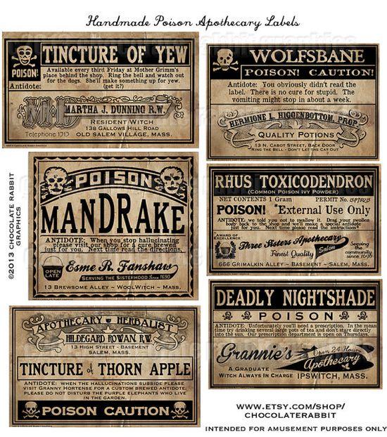 Poison labels for jars.