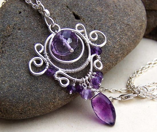 Purple amethyst necklace, wire wrapped jewelry, sterling silver