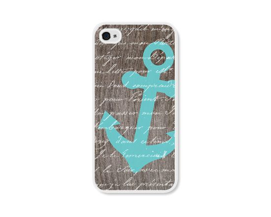 Anchor iPhone 4 Case - Plastic iPhone 4s Case - Wood Nautical iPhone Case Skin - Turquoise Blue Brown White Cell Phone. $18.00, via Etsy.
