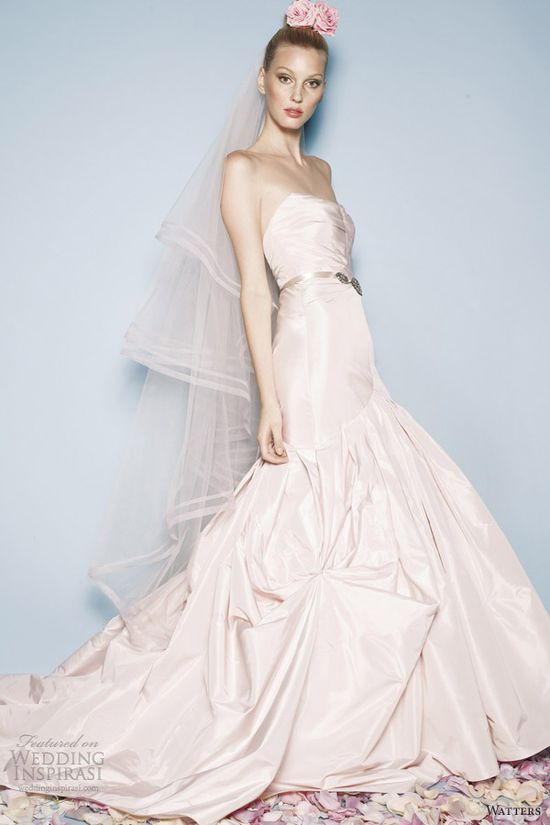watters spring 2013 color wedding dress talia pink strapless gown