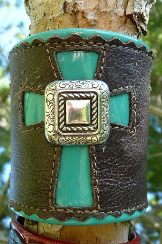 Turquoise, cross, and leather.. Lovely Leather Cuff from Ranch Icing on Etsy.