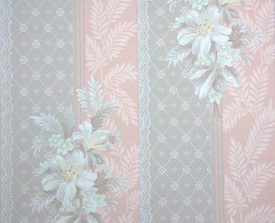 1940's Vintage wallpaper taupe and peach stripe with white flowers and lace
