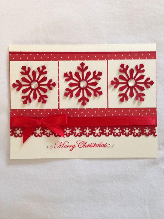 Christmas handmade card, red snowflakes, Merry Christmas,