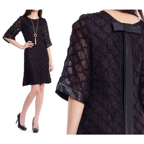 50s-60s Vintage Lace Cocktail Dress with Bow