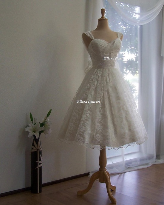 50's inspired lace tea length wedding dress $475,00