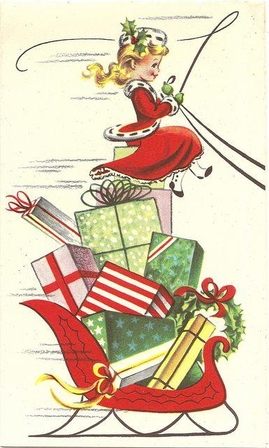 Vintage Sleigh Ride Christmas card