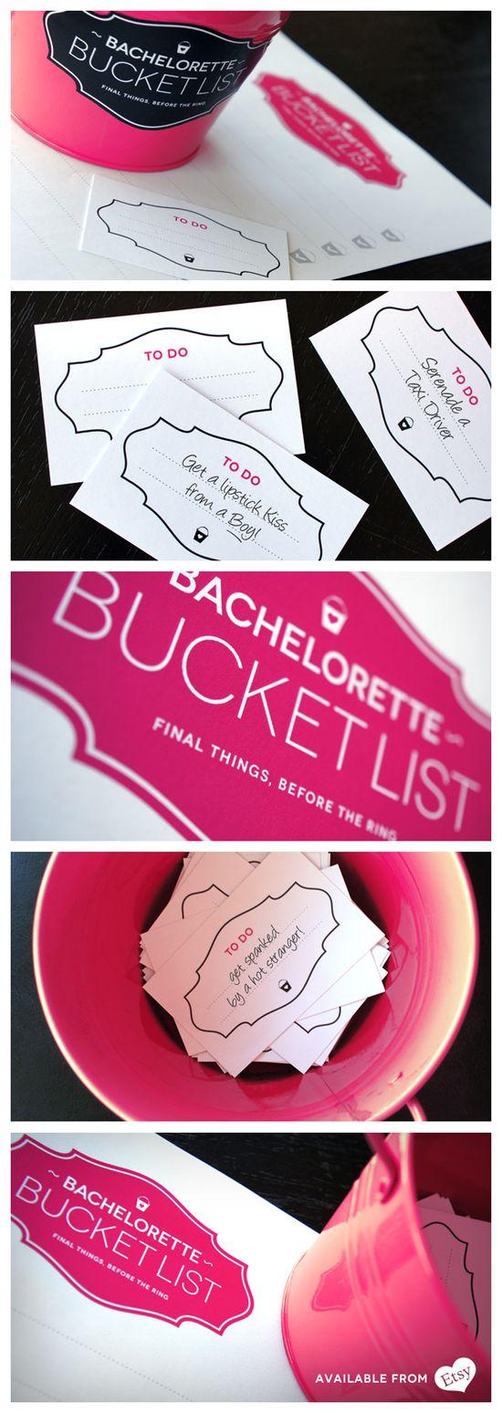 Bachelorette Bucket List cute game idea, each guest writes down an idea that the bachelorette has to do during the night