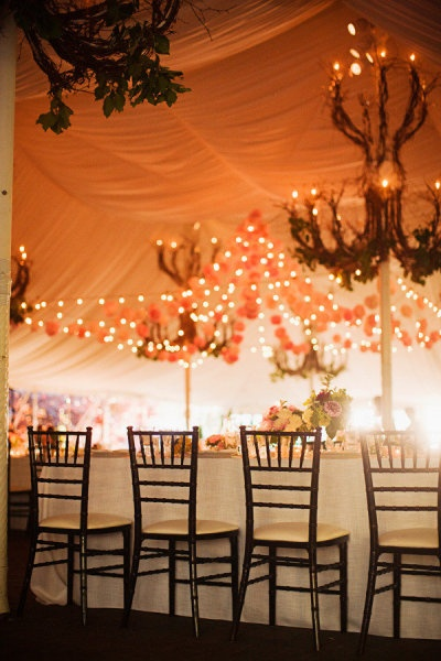 There's a close-up in the gallery of the poms in the center of the tent. Stunning.  (Here - www.stylemepretty...)