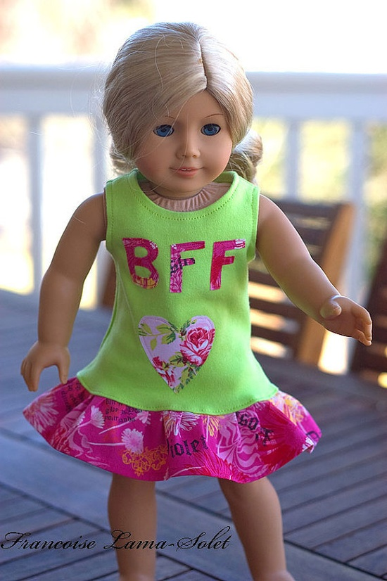doll dress - best friends forever on etsy from Boutique Children Clothing by Francoise Lama-Solet