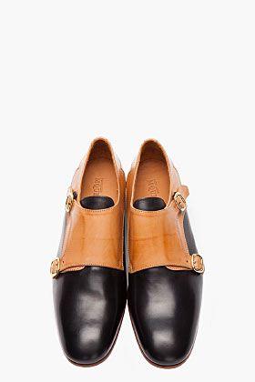 ALEXANDER MCQUEEN Tan two-tone calfskin monk shoes