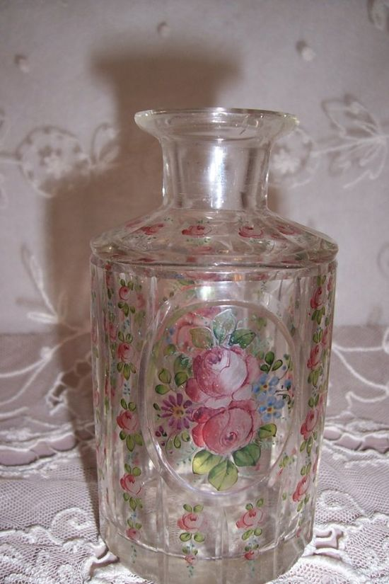 ANTIQUE CRYSTAL HAND PAINTED ROSES PERFUME BOTTLE/VASE