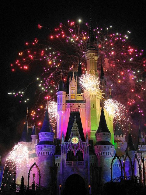 Cinderella Castle multiple color Disney Fireworks