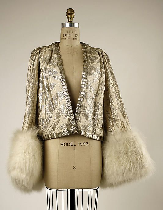 Evening jacket House of Worth  (French, 1858–1956)  Date: 1930–32 Culture: French Medium: silk, silver, fur. Front