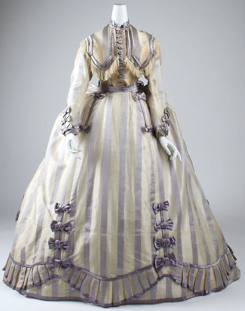 Dress Depret, French ca. 1867-1869 piña cloth, silk.    That skirt treatment would be fun to replicate.