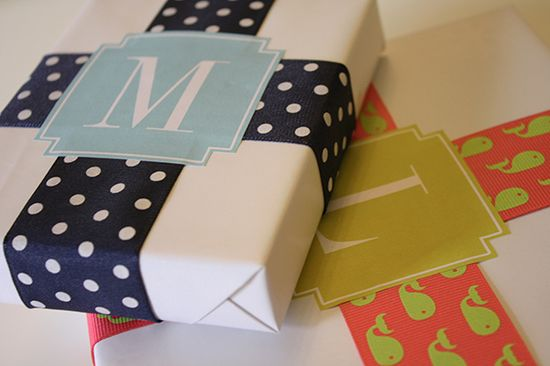 Free Monogrammed Gift Wrap Labels