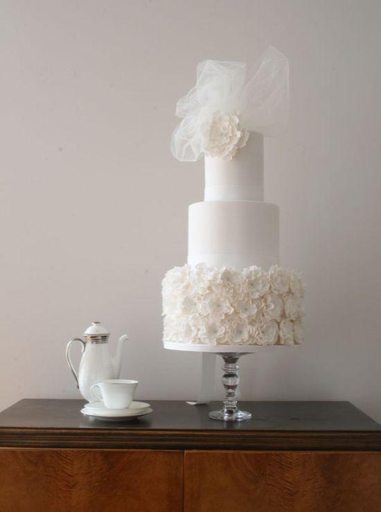 chic white wedding cake