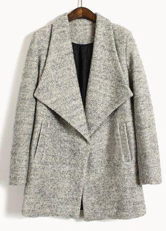 long light gray lapel coat.