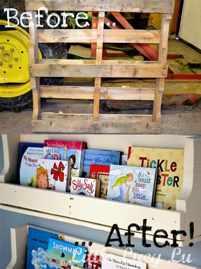 book shelves made out of a pallet.
