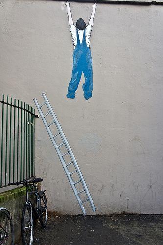 Street Art - Falling Off The Property Ladder  #Graffiti