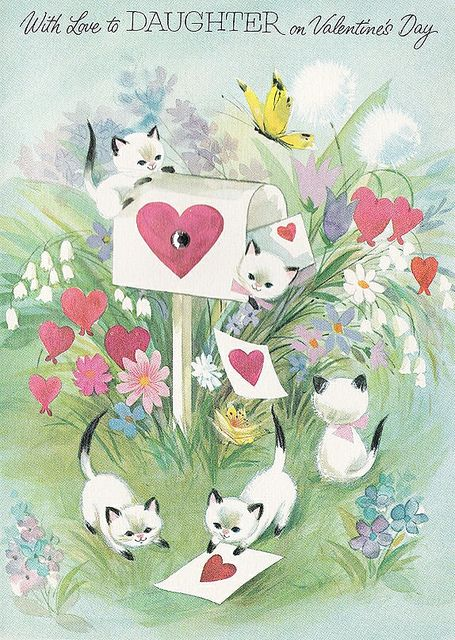 Fantastically cute kitty filled vintage Valentine's Day card. #Valentines #Day #cat #kitty #kittens #cute #heart #vintage #card