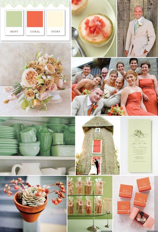 Colors, colors, colors! :  wedding colors coral ivory mint peach wedding Mint Ivory Coral