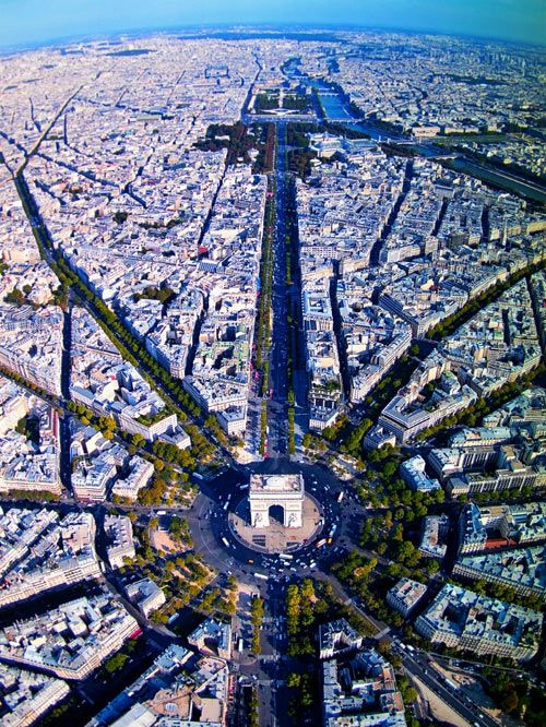 A view of Paris from above Champs Elysees