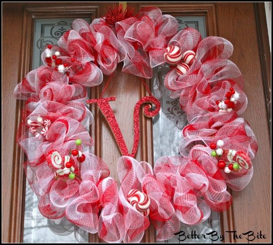 candy cane themed deco mesh wreath