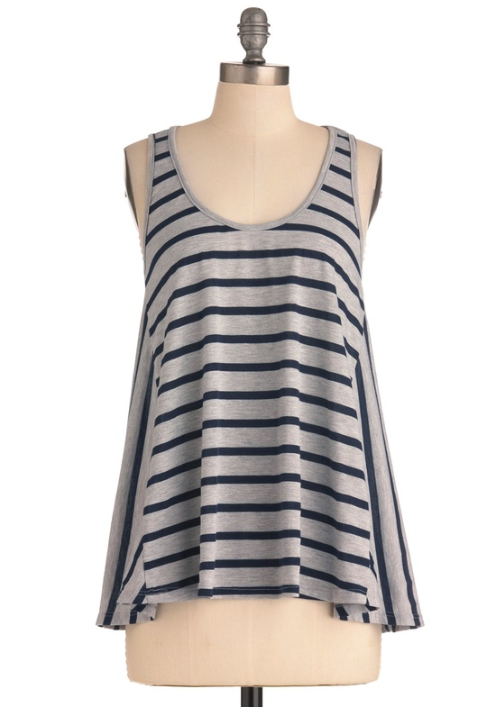 Company Picnic Top - Mid-length, Grey, Stripes, Casual, Tank top (2 thick straps), Buttons, Black