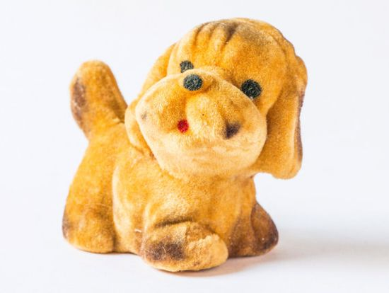 Vintage dog toy - mustard tone, velvet puppy dog - Soviet kids toy on Etsy, $10.14 AUD