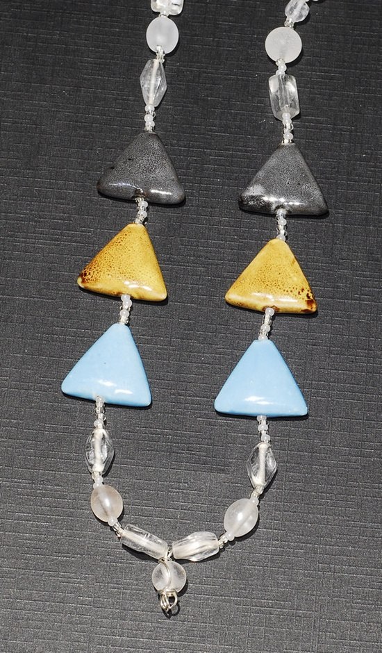 Gray Gold and Blue Porcelain Triangle Necklace by tzteja on Etsy, $20.00
