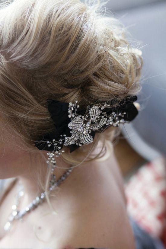 black ribbon + rhinestone hair accessory // photo by Heartland Photography // ruffledblog.com/...